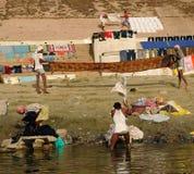 Washermen of Varanasi Royalty Free Stock Photos