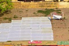 Washermen Varanasi Ghats Stock Photos