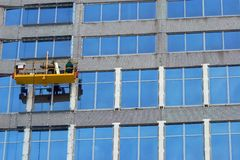 Washermen of windows Royalty Free Stock Image
