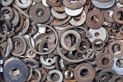 Washers Background. A collection of old and rust washers Royalty Free Stock Photos