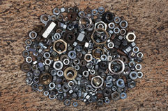 Washers and nuts Royalty Free Stock Images