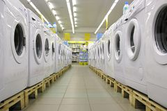 Washers in shop 2. Many white washers in shop 2 Royalty Free Stock Images