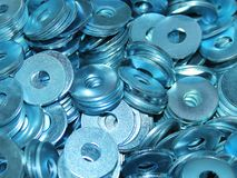 Washers for working with metal structures background stock image