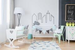 Washi磁带装饰在婴孩屋子里 免版税库存照片