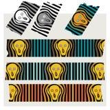 Washi bandband - skriet, svart, grå färg och färgat Royaltyfria Bilder