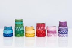 Washi hantverkband på en vit tabletop Royaltyfri Foto