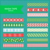 Washi tape christmas strips. Set of cute colorful christmas washi tape stripes stock illustration