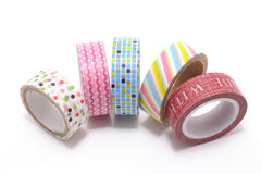 Washi Tape, a high quality masking tape made of rice paper, isolated on white background. Royalty Free Stock Photos