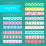 Washi tape polka dot strips. Set of cute colorful polka dot washi tape stripes vector illustration