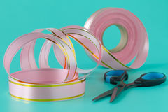 Washi tape rolls, masking tape rolls in pile. Pink tones Royalty Free Stock Image