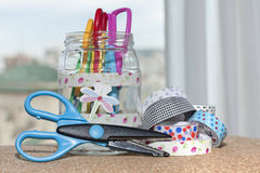 Washi tape and scissors. Front view of different items for crafting at home Stock Photography
