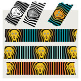 Washi Tape Stripes - The Scream, black, gray and colored. Royalty Free Stock Images