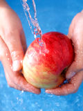 Washing apple. With water stock image