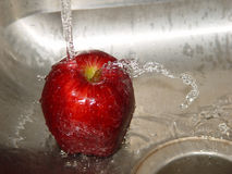 Washing the apple Stock Photography