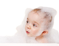 Washing baby boy Royalty Free Stock Images