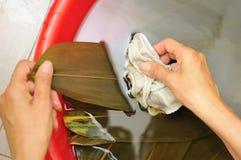 Washing bamboo leaves Stock Image