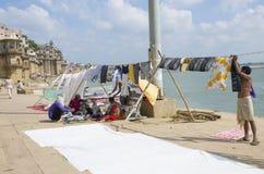 Washing on the bank of Ganges in Varanasi India. Washing on  bank of Ganges in Varanasi India Royalty Free Stock Photo