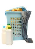 Washing basket with detergent Stock Photo