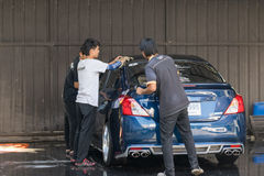 Washing blue car stock photo