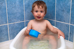 Washing boy. In the shower and bath Stock Photo