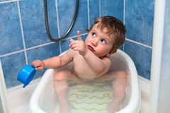 Washing boy. In the shower and bath Royalty Free Stock Photography