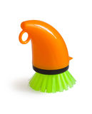Washing brush dish. Brush plastic dish detergent on a white background Royalty Free Stock Photo