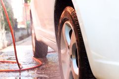 Washing a car closeup Stock Images