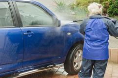 Washing a car Stock Image