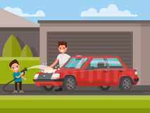 Washing of car outdoors. Father and son are washing car. Vector royalty free illustration