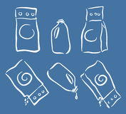 Washing cleanser packagings icons set, full and empty, doodle sketch style Royalty Free Stock Photography