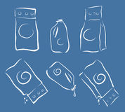 Washing cleanser packagings icons set, full and empty, doodle sketch style, light strokes Stock Images