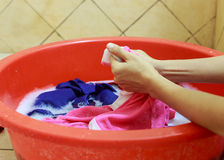 Washing cloth by hands Stock Photos