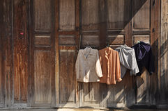 Washing Clothes Hang Door Wood Royalty Free Stock Photos
