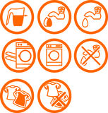 Washing clothes icons Stock Images