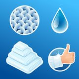 Washing clothes stickers set, clean laundry, fibers, water drop, thumbs up icons isolated, vector illustration. Washing clothes stickers set, clean laundry vector illustration