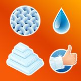 Washing clothes stickers set, clean laundry, fibers, water drop, thumbs up icons isolated, vector illustration. Washing clothes stickers set, clean laundry stock illustration