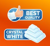 Washing clothes stickers set, clean laundry, thumbs up label with sign best quality, stack of white towels with the. Inscription crystal white, washing icons royalty free illustration