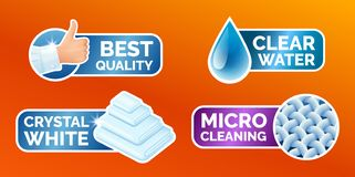Washing clothes stickers set, stickers - micro cleaning, clear water, best quality, crystal white. Clean laundry, fibers. Water drop, thumbs up icons isolated vector illustration