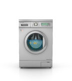 Washing concept. Aquarium with goldfish in a drum of modern washing machine. 3d illustration Stock Images