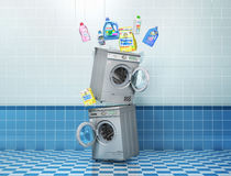 Washing concept. Detergents bottles and washing powder near washing and dryer machine on a tile background. 3d illustration Royalty Free Stock Images