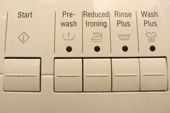 Washing controls. Washing machine controls and functions Stock Image