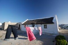 Washing day. Washing on loine at coastal village of Arniston, South Africa Stock Photos