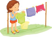 Washing day. Illustration of a girl hanging out the washing royalty free illustration
