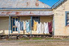 Washing Day in Carrick. Washing day at the small historic village of Carrick in Tasmania, Australia stock photo