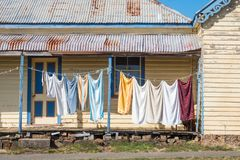 Washing Day in Carrick. Washing day at the small historic village of Carrick in Tasmania, Australia stock photos