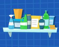 Washing detergents and bottles Stock Photo