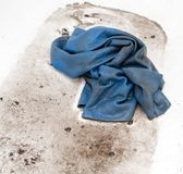 Washing dirty rags for cars in the water.  Stock Photos