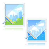 Washing dirty windows. Vector illustration Royalty Free Stock Photo