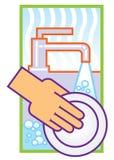 Washing dishes. Illustration of washing dishes in sink Stock Photos