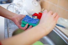 Washing of the dishes Stock Photography